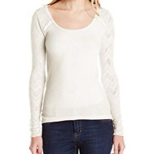 Lucky Brand Waffle Lace Thermal Shirt - ivory